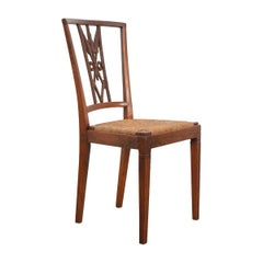 Rare Set of Eight French 19th Century Louis XVI-Style Rush-Seat Dining Chairs