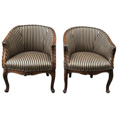 Pair of Late 19th Century Italian Walnut Occasional Chairs