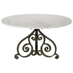 Carrara Marble and Cast Iron Garden Table, 1950s