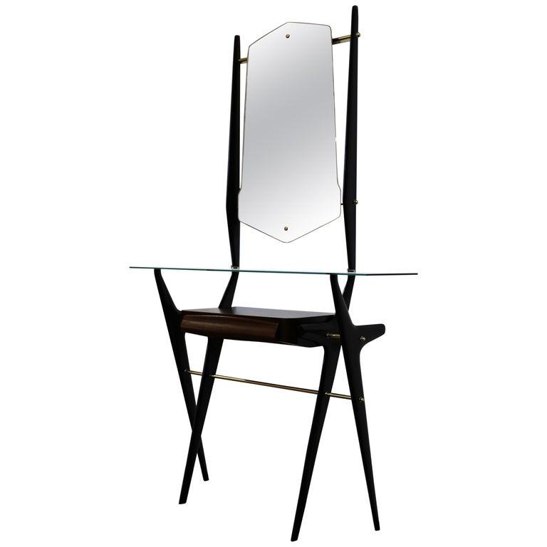 Sculptural Italian Console and Mirror, circa 1955 For Sale