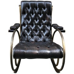 Tufted Leather and Brass Rocking Chair