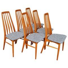 Set Of Six Restored Koefoeds Hornslet Teak Eva Chairs In Gray Brown Tweed