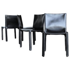 "Black Leather ""Cab"" Chairs by Mario Bellini for Cassina, circa 1980"