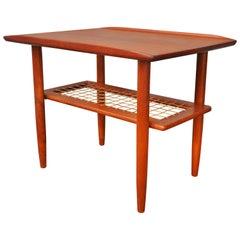 Danish Modern Teak Side Table Flared Edges, Lower Cane Shelf