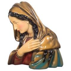 Midcentury Belgian Virgin Mary Plaster Bust, circa 1950
