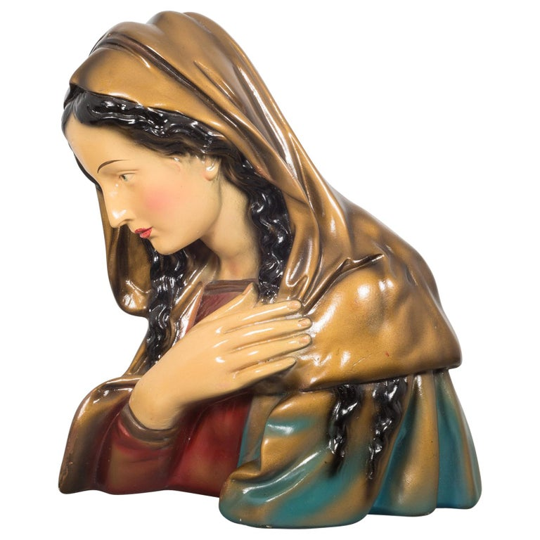 Midcentury Belgian Virgin Mary Plaster Bust, circa 1950 For Sale