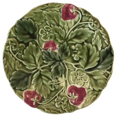 19th Century Strawberry Majolica Plate Choisy Le Roi