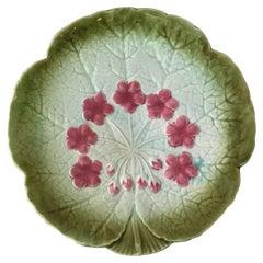 Majolica Flower Plate Sarreguemines, circa 1890