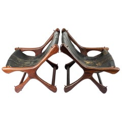 Pair of Original Don Shoemaker Leather Sling Chairs