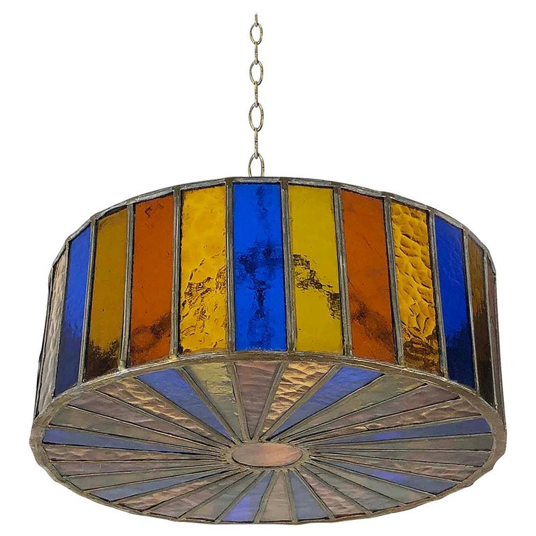 Mexican Modernist Glass Chandelier by Feders For Sale