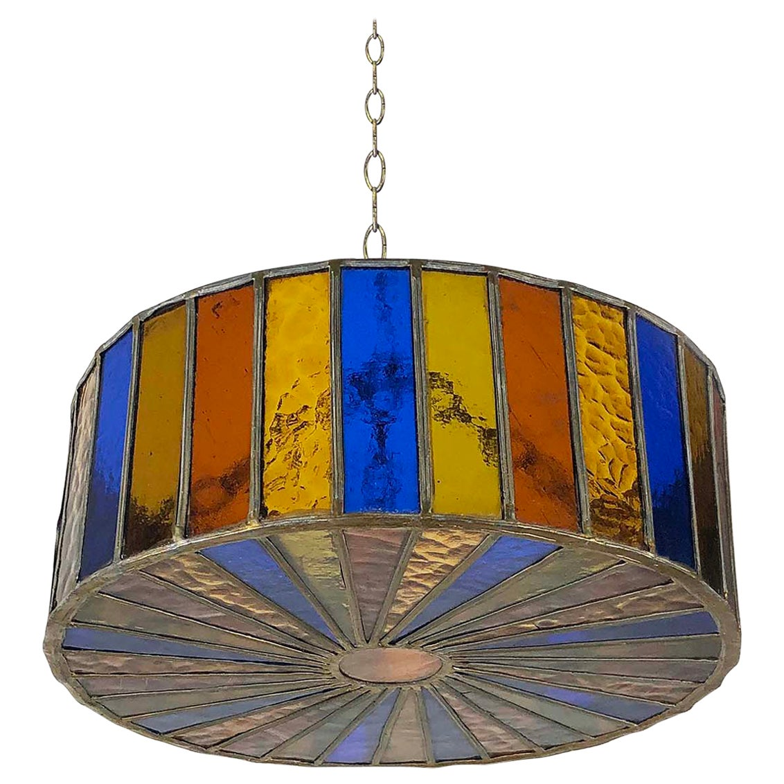 Mexican Modernist Glass Chandelier by Feders