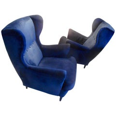 Pair of Blue Velvet Wingback Armchairs Attibuted to Gio Ponti, Italy, 1950s