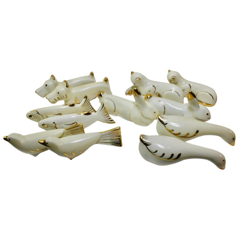 Limoges (Signed) France Knife Rests, Set of 15 Pieces and with decorators mark For Sale