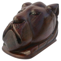 Paperweight Made of Hardwood Carving Depicting a Animal Head