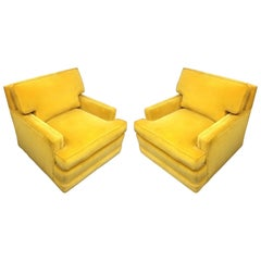 Pair of Vintage Yellow Velvet Club Lounge Chairs