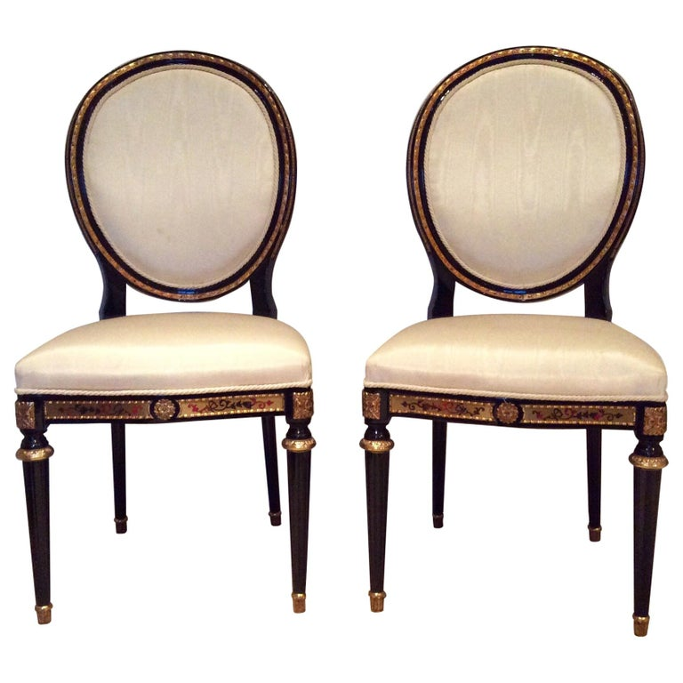 Pair of Louis XIV style Ebonised Side Chairs For Sale