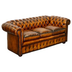 1930s Made in England Hand Dyed Restored Whisky Brown 3 Seat Chesterfield Club