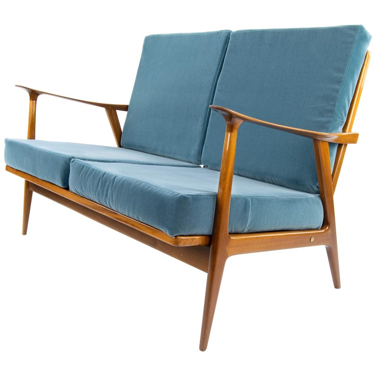 Midcentury Teak and Velvet Scandinavian Style Sofa by AG Barcelona ...