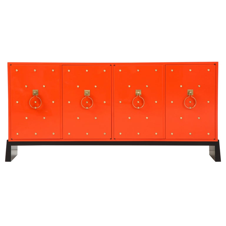 Tommi Parzinger Coral Lacquer Studded Credenza For Sale