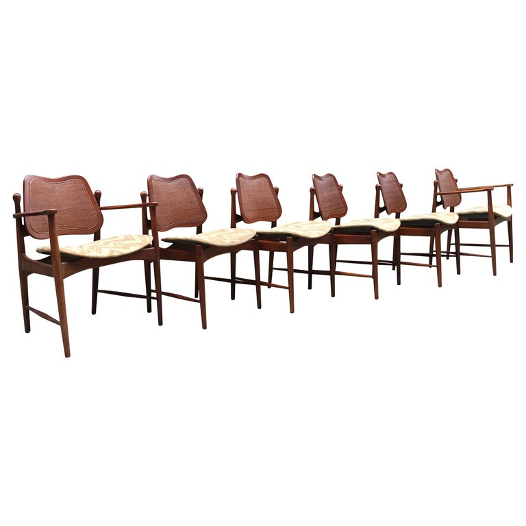 Set of Six Arne Vodder Teak and Cane Back Dining Chairs For Sale