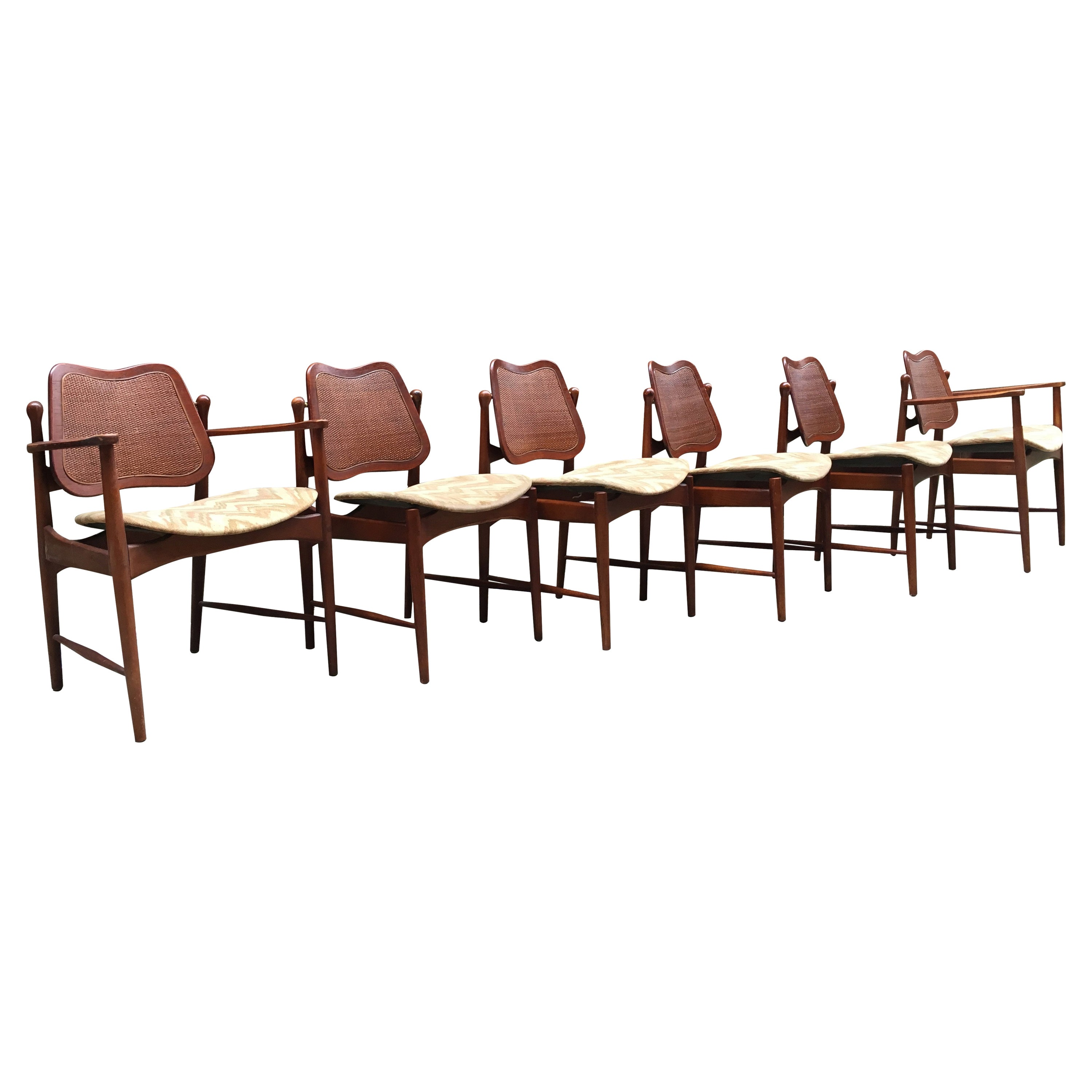 Set of Six Arne Vodder Teak and Cane Back Dining Chairs