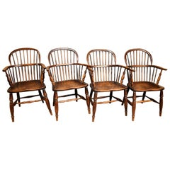 A Superb Set of Four Ash and Elm Windsor Chairs