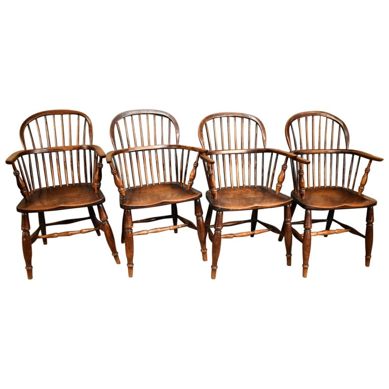A Superb Set of Four Ash and Elm Windsor Chairs For Sale