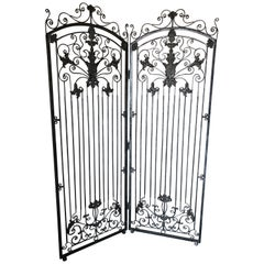 Gorgeous Theodore Alexander 2 Panel Silver Antiqued Iron Screen Room Divider