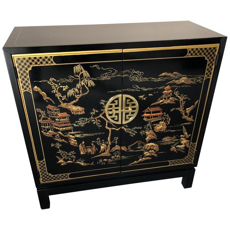 Elegant Drexel Heritage Black Chinoiserie Style Sleek