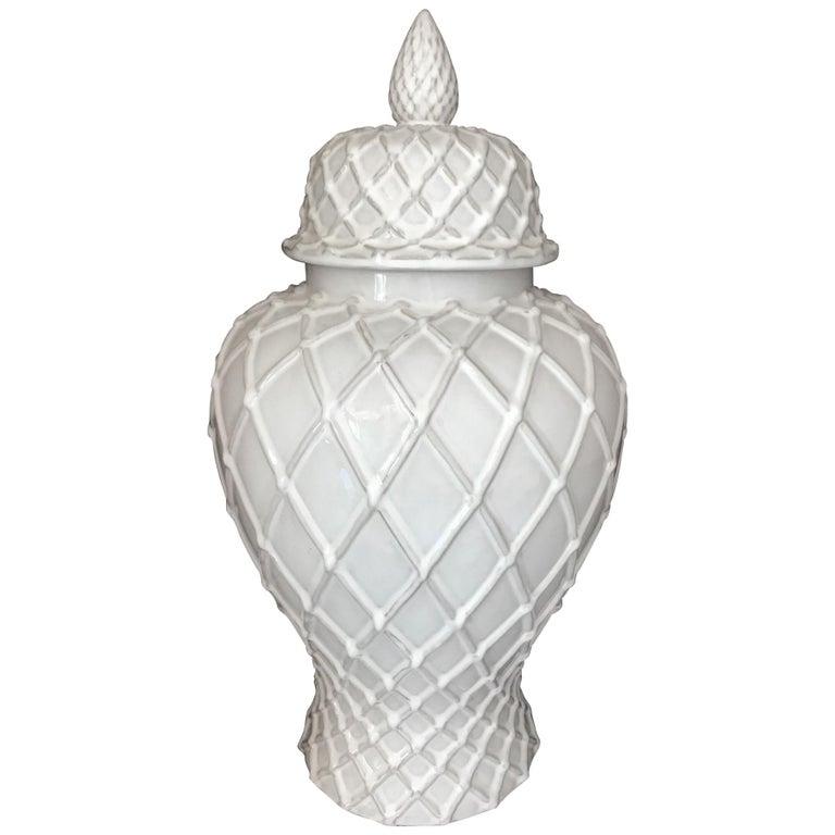 Exquisite White Ceramic Lidded Urn Vase with Lattice Design, Italy For Sale