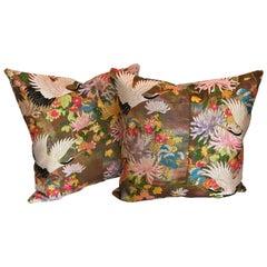 Custom Pillows by Maison Suzanne Cut from a Vintage Silk Japanese Wedding Kimono