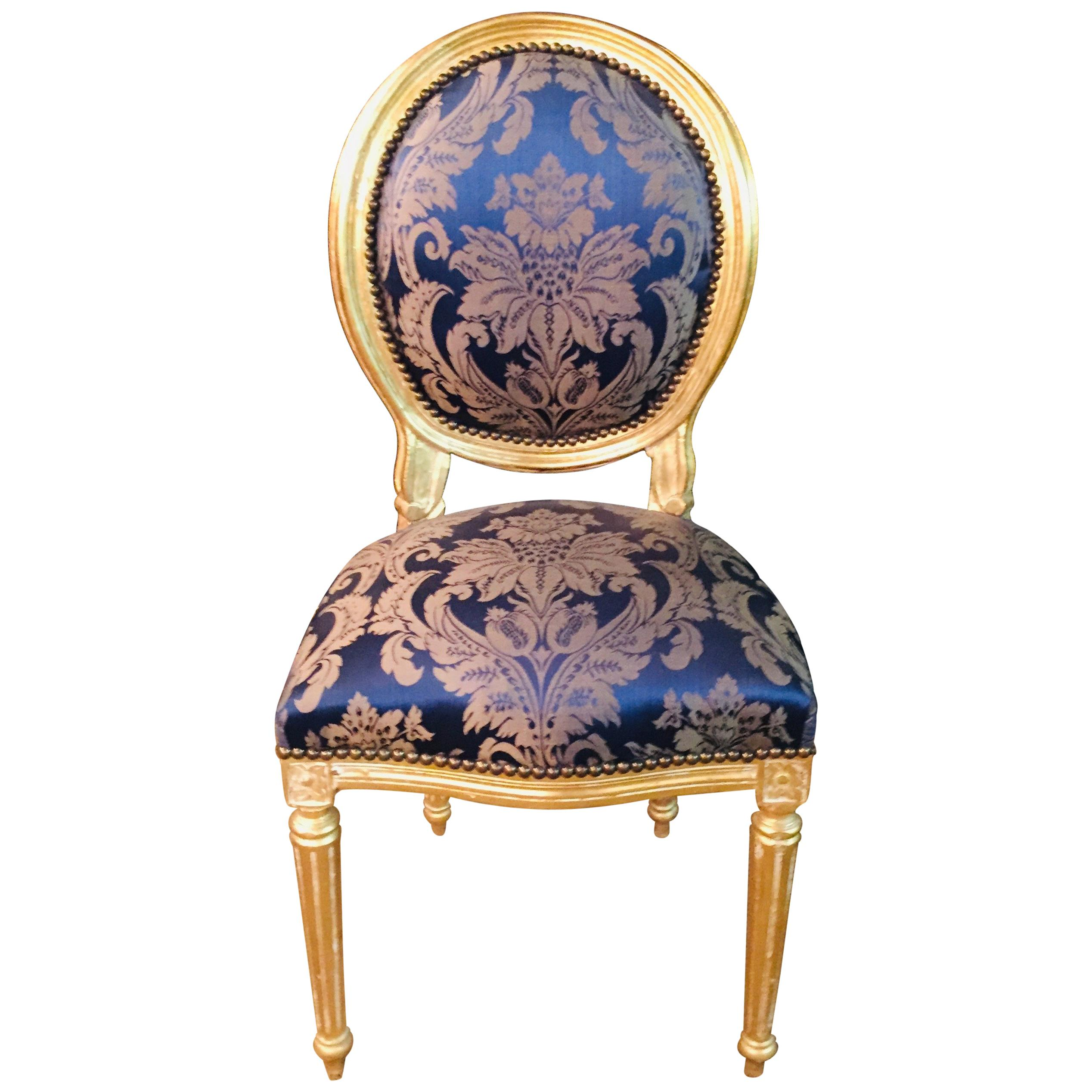 Charmant Chair In Louis Seize Style Gilded With Royal Fabric