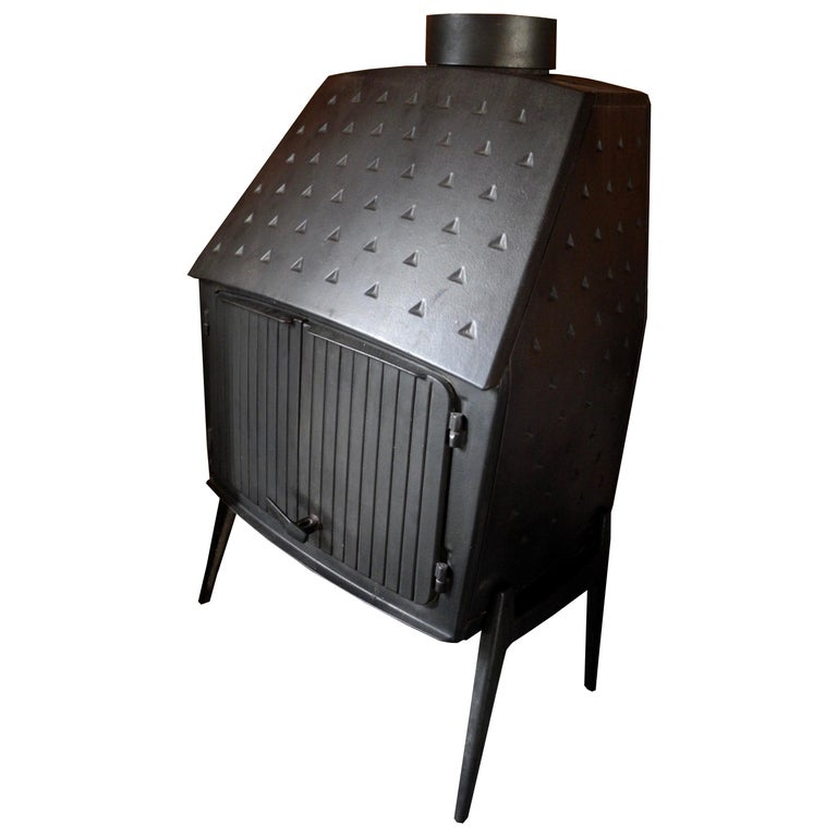 Vintage Modern Danish Black Cast Iron Wood Stove and Fireplace by Morsø, Denmark For Sale