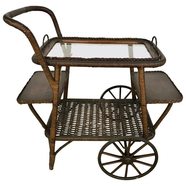Antique Wicker Tea Trolley Bar Cart For Sale