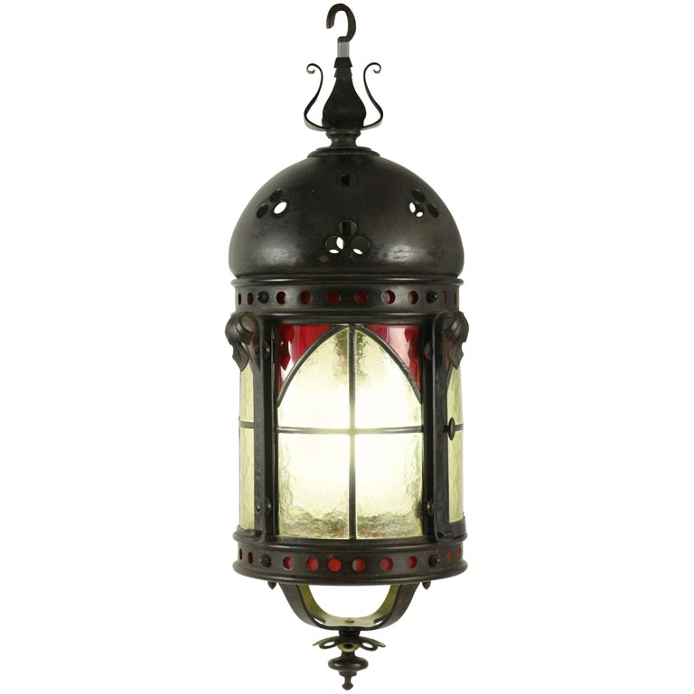 Gohic Single Light Lantern in Wrought Iron and Glass For Sale