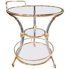 Exclusive Tea Table Acrylic Curved Legs with Brass