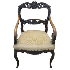 19th Century Carved Walnut Armchair with Volute Arms