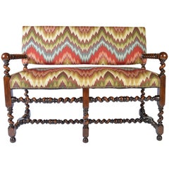 Louis XIII Walnut Barley Twist Banguette Sofa Settee