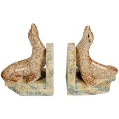 Pair of Ceramic Bookends with Seals, from 1930s, in Cabana Style