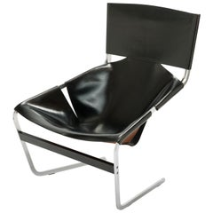 Original Black Leather Pierre Paulin F-444 Easy Chair by Artifort, 1962