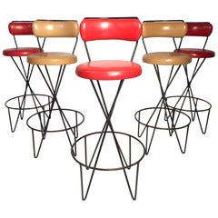 Set of 5 Midcentury Bar Stools by Paul Tuttle