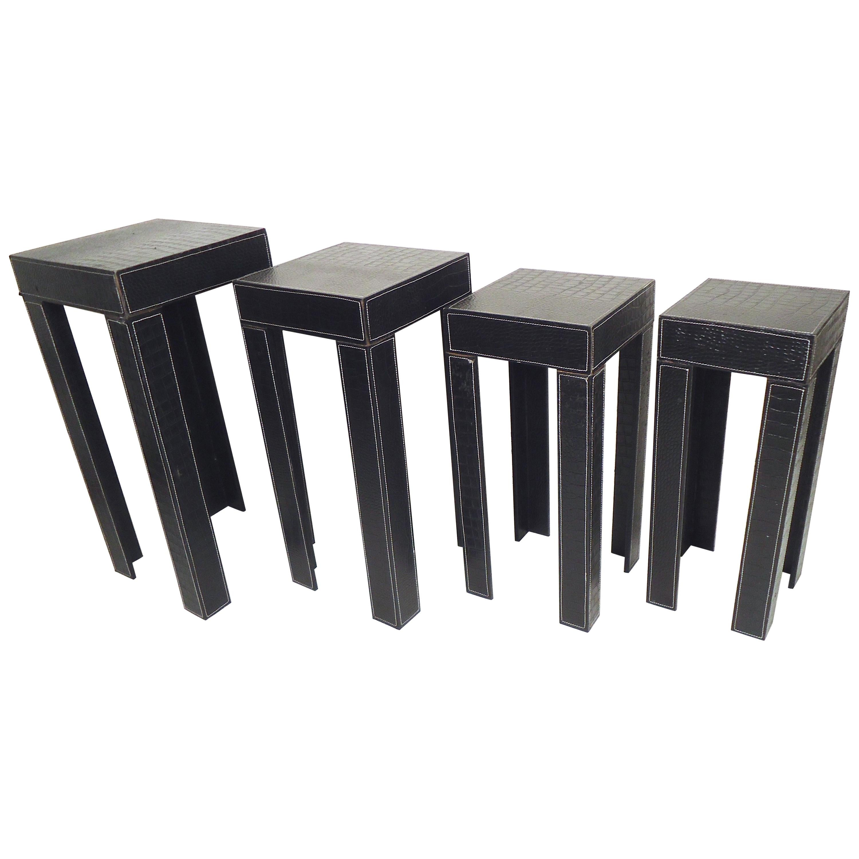 Set of Black Leather Nesting Tables