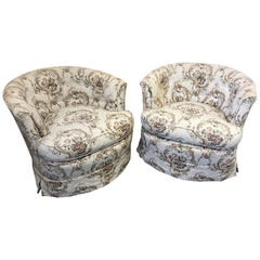 Cool Pair of Swivel Barrel Back Tufted Upholstered Club Chairs