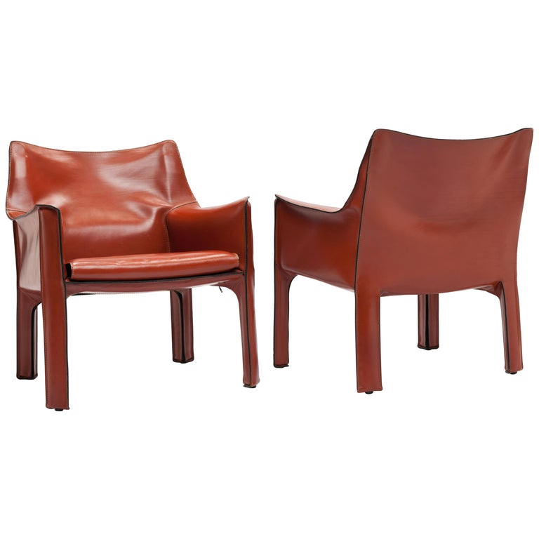 Pair of Mario Bellini CAB Lounge Chairs by Cassina, 1980s For Sale
