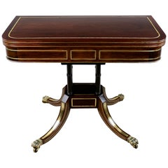 Antique English Regency Brass Inlaid Rosewood Card Table, circa 1820