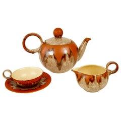 Ceramic Tea Set from 1930s, Czechoslovakia, in Cabana Style