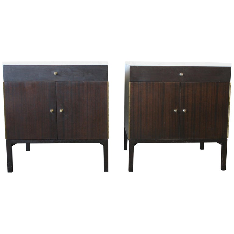 Midcentury Paul McCobb Calvin #7700 Nightstands Calacatta Gold Marble Tops For Sale