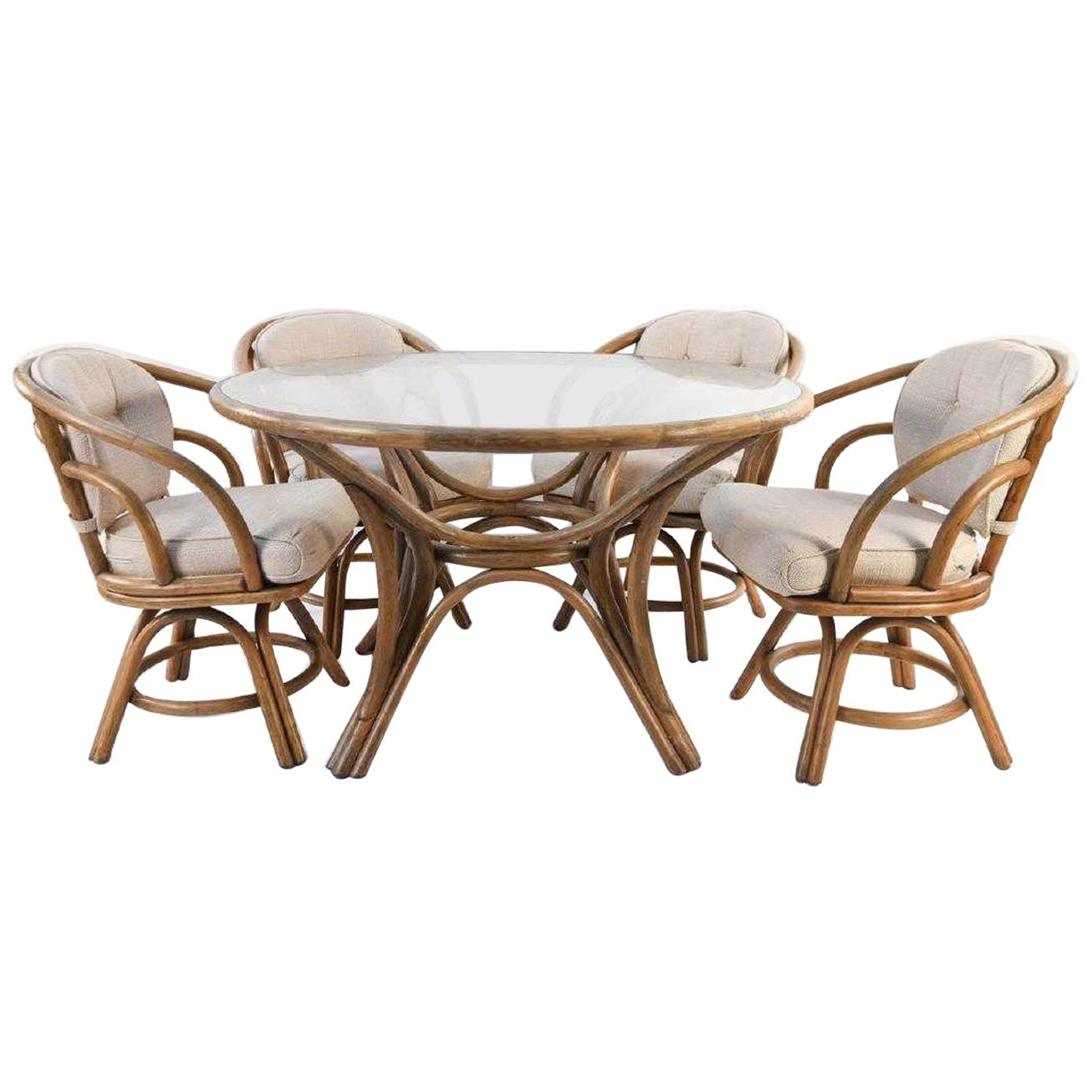 Brown Jordan Bentwood Rattan Table and Chairs Set