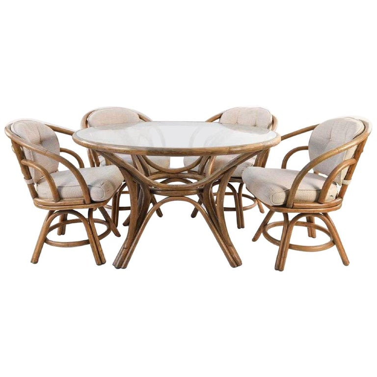 Brown Jordan Bentwood Rattan Table And Chairs Set For Sale At 1stdibs