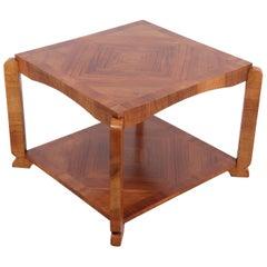 Art Deco Walnut Square Coffee Table, circa 1930